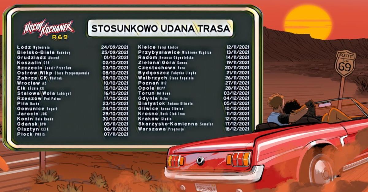 """Plakat graficzny zapraszający do Ełku na koncert zespołu Nocny Kochanek """"Stosunkowo Udana Trasa"""" - Ełk 2021. Na plakacie trasa koncertowa zespołu oraz grafika samochodu."""