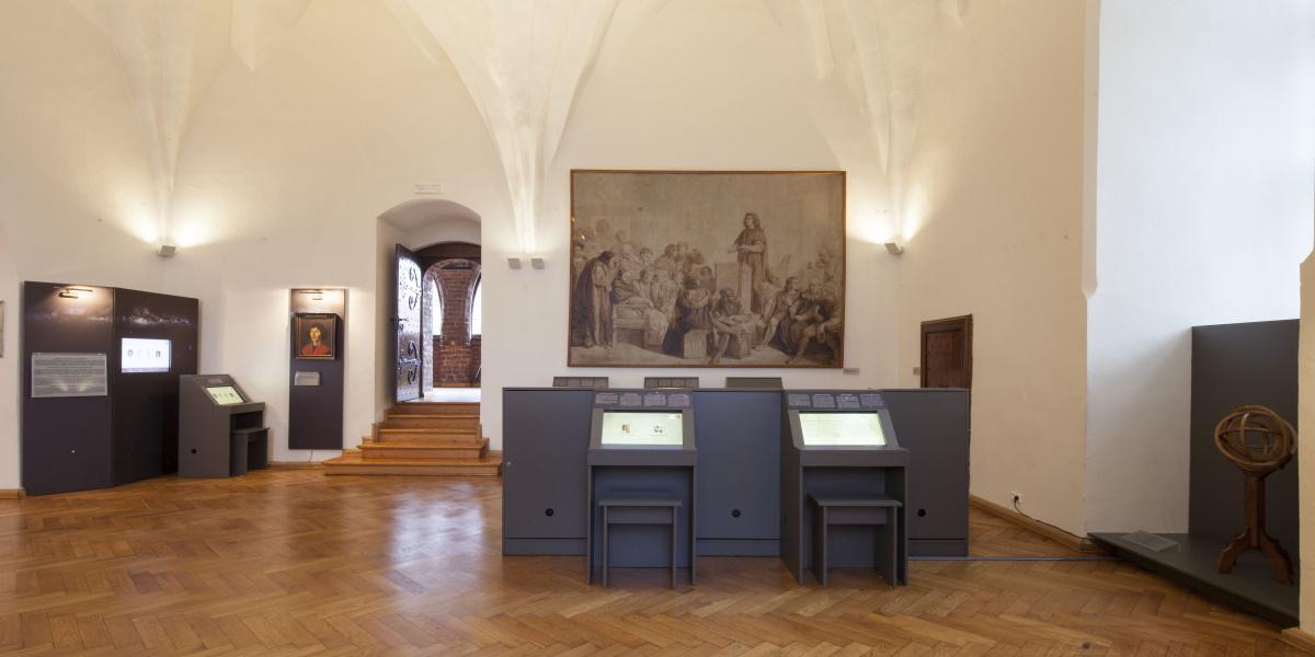 Muzeum Warmii i Mazur w Zamku w Olsztynie. Ekspozycja przestawiająca zbiory związane z Mikołajem Kopernikiem.