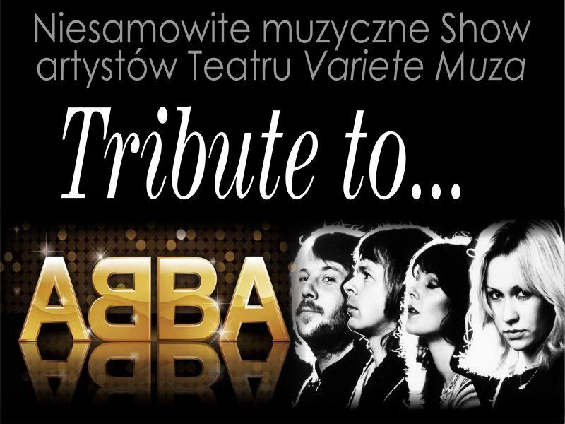 """Plakat graficzny zapraszający do Olsztyna na rewię musicalową """"Tribute to Abba"""" - Olsztyn 2021."""