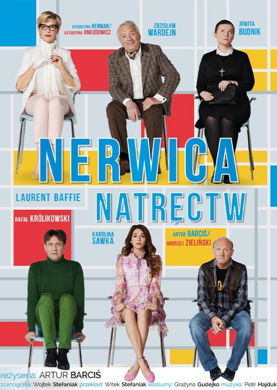 """Plakat graficzny zapraszający na komedię teatralną """"Nerwica Natręctw"""". Na plakacie zdjęcia aktorów występujących w komedii."""